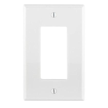 Decora Wallplate, 1-Gang, Nylon, White, Midway