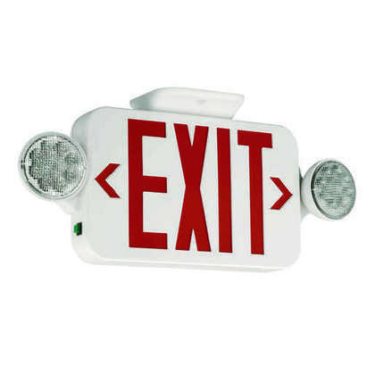 Emergency Combo Exit/Light, w/ Remote Capacity, LED, Red Letters