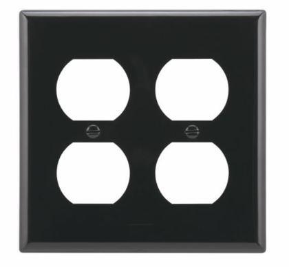 Duplex Wallplate, 2-Gang, Nylon, Black
