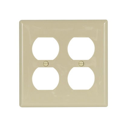 Wallplate 2G Duplex Recp Nylon Std IV