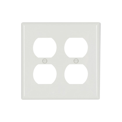 Duplex Wallplate, 2-Gang, Nylon, White