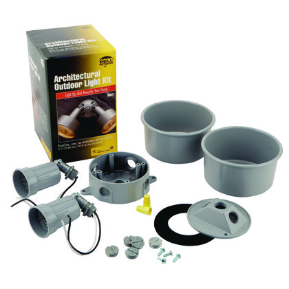 4 in. Round Light Weatherproof Kit for 75-150W Par38 Lamps, Includes 2-Architectural Lampholders, Box, and Cover, Gray