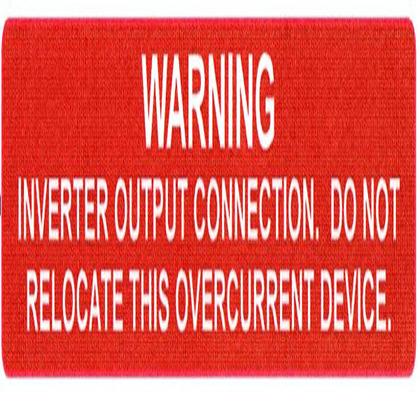 WARNING INVERTER/OVERCURNT Label, 50RL