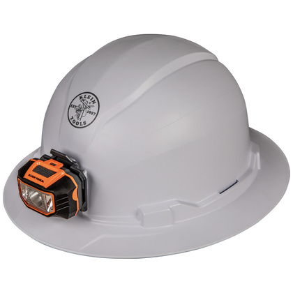 Hard Hat, Non-vented, Full Brim Style with Headlamp *** Discontinued ***