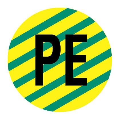 "Card Label, Polyester, 'PE', 0.49"" dia.,"