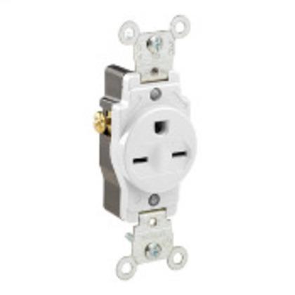 15 Amp Single Receptacle, 250V, 6-15R, White, Commercial Grade