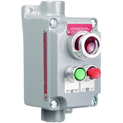 XCS Series- Cover with Device - Aluminum Feed-Thru Momentary Contact Two Mini Red-Green Push Buttons And Red Pilot Light - Hub Size 3/4 Inch