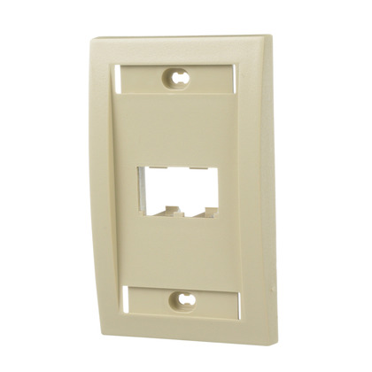 Wallplate, Executive, 1-Gang, 2-Port, Box Mount, Mini-Com, Ivory