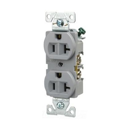 Recp Duplex 20A 125V 2P3W Str B/Swire GY