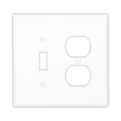 Wallplate 2G Duplex/Blank Poly Mid WH