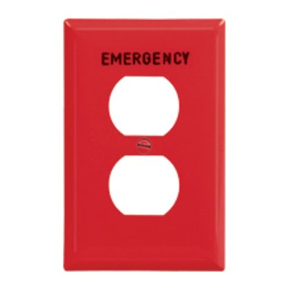 Wallplate 1G Dup EMERGENCY Poly Mid RD