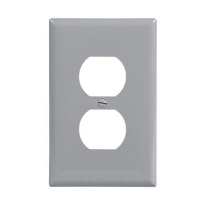 Wallplate 1G Duplex Poly Mid GY