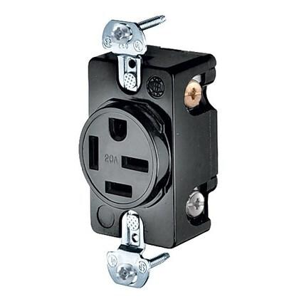 3-Pole 4-Wire Grounding, 20A 3PH 250V, 15-20R, Black Nylon