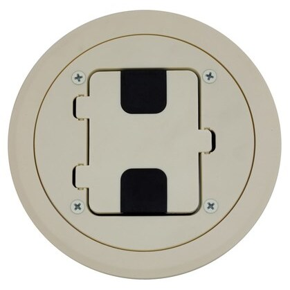 Floor Box Assembly, Includes Duplex Receptacle, Non-Metallic, Almond *** Discontinued ***