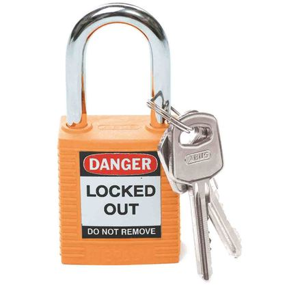 "Safety Padlock, Orange, 1.75"" H x 1.5"" W x 0.8"" D"