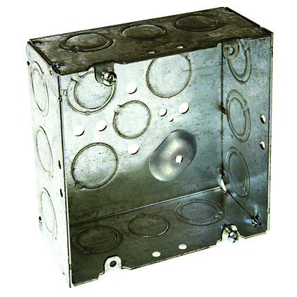 "4-11/16"" Square Box, Welded, Metallic, 2-1/8"" Deep"