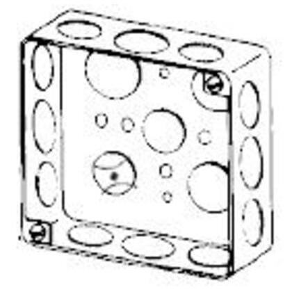 "4"" Square Box, Drawn, Metallic, 1-1/2"" Deep"