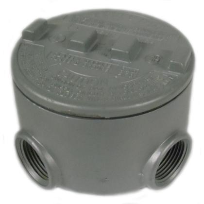 """Conduit Outlet Box, Type, GRU, (5) 3/4"""" Hubs, Aluminum"""