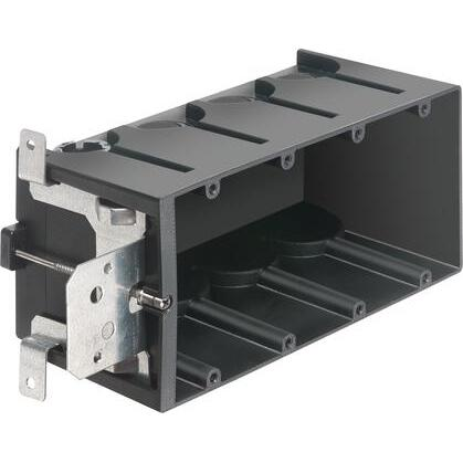 "Switch/Outlet Box, 4-Gang, Adjustable, Depth: 3-9/16"""