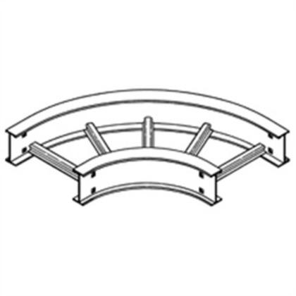 "Cable Tray 90° Horizontal Bend, 12"" Radius, 24"" Wide, 4"" High, Aluminum"
