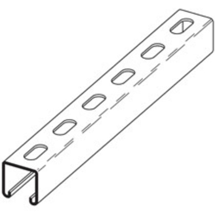 "Channel - Elongated Holes, Steel, Pre-Galvanized, 1-5/8"" x 13/16"" x 10'"