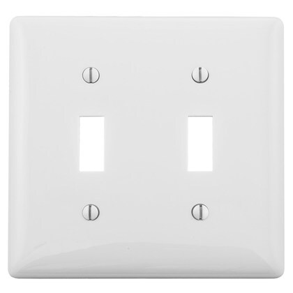 Toggle Switch Wallplate, 2-Gang, Nylon, White