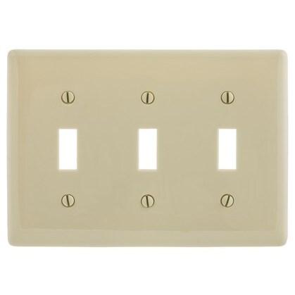 Toggle Switch Wallplate, 3-Gang, Nylon, Ivory