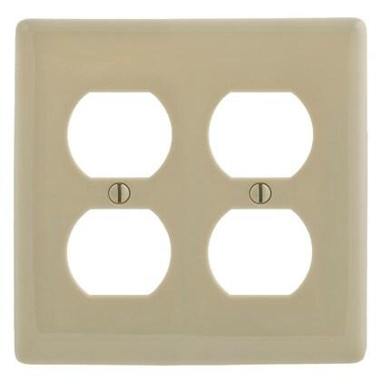 Duplex Receptacle Wallplate, 2-Gang, Nylon, Ivory