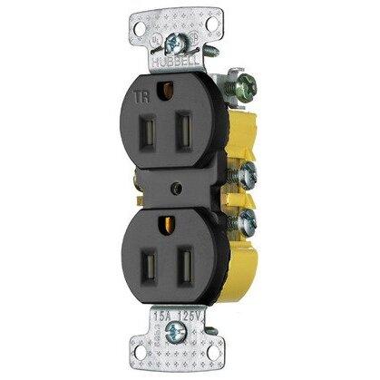 Duplex Receptacle, 15A, 125V, 2P3W, Black