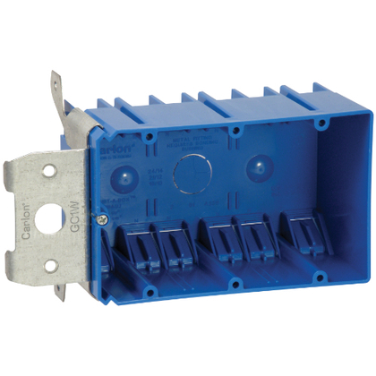 """Switch/Outlet Box, 3-Gang, Adjustable, Depth: 3"""", Non-Metallic"""