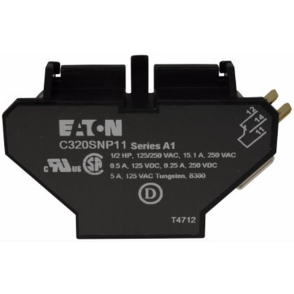 Auxiliary Contact. 1NO/NC, For 15-75 Amp DP Contactors, Side Mount