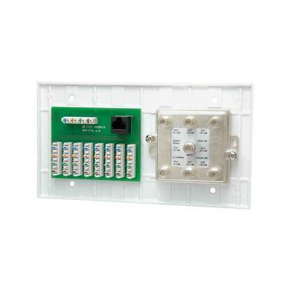 Multimedia Outlet, 4-Gang, 4 x 8 Phone, 6 x 1 Video Splitter, White