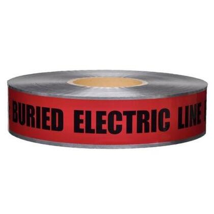 """Detectable Barricade Tape, """"Buried Electric Line Below"""", 3"""" x 1000', Red"""