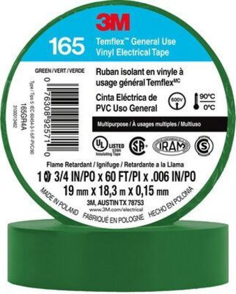 "General Use Vinyl Electrical Tape, Multi-Purpose, Green, 3/4"" x 60'"
