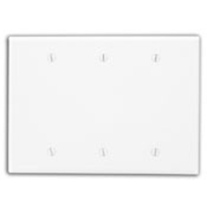Blank Wallplate, 3-Gang, Thermoset, Ivory, Midway