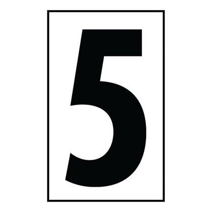 """Address Light Number Tile, #5, White Plastic, 4"""""""