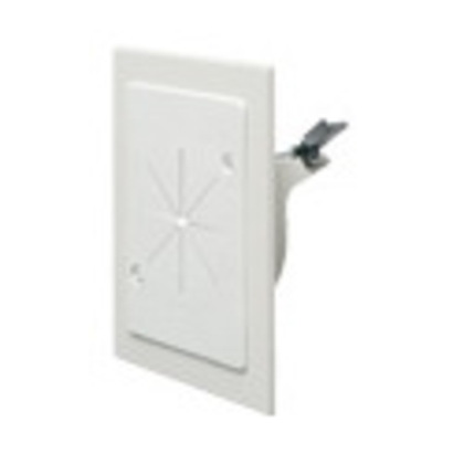 Wallplate, Cable Entry, Slotted, 1-Gang, Non-Metallic, White