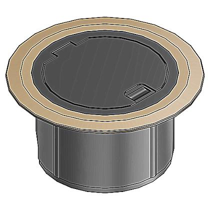 Floor Box Cover Kit, Recessed, Brass Flange, Black, Non-Metallic