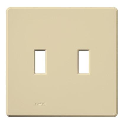 Toggle Switch Wallplate, 2-Gang, Plastic, Ivory Gloss