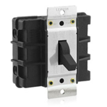 Manual Motor Switch, 60A, 600VAC, Short Toggle Style, 2P, Black