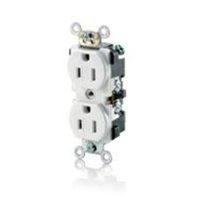 15 Amp, 125 Volt, Narrow Body NEMA 5-15R, White