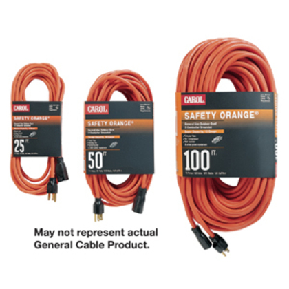 Extension Cord, Outdoor, Safety Orange, 14/3 SJTW, 100' Long