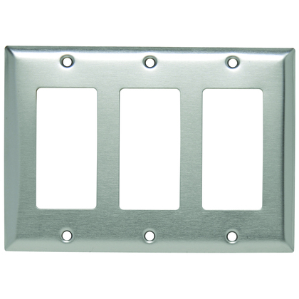 Decorator/GFCI Wallplate, 2-Gang, Stainless Steel