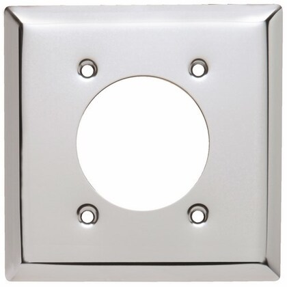 """Power Outlet Wall Plate, 2-Gang, 2.1563"""" Opening, Chrome"""