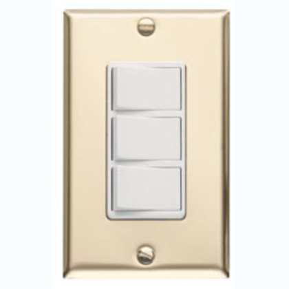 3 function Control With Polished Brass Finish Metal Wall Plate. Fits Single Gangopening.