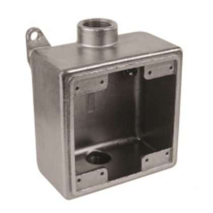 """Device Box, 2-Gang, Size: 3/4"""", Dead-End, Stainless Steel"""