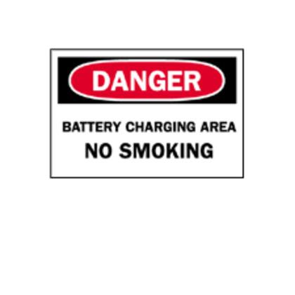Sign,B302,10x7,Bk/Rd/Wt,DANGER BATTE,1EA