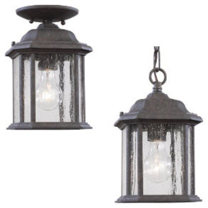 1-Light Outdoor Semi-Flush, 100W, A19, 120V, Oxford Bronze