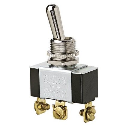 Toggle Switch, SPDT, On-Off-On, 3-Terminals, 3/4 HP