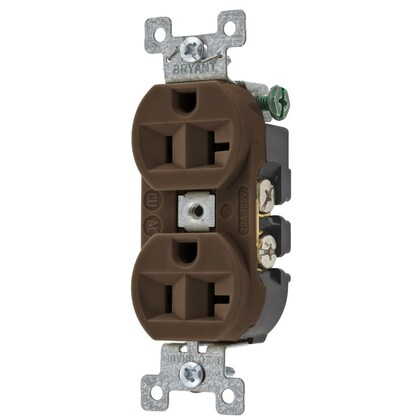 Duplex Receptacle, 20A, 125V, Brown, Commercial/Industrial